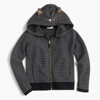 Girls' striped kitty zip hoodie