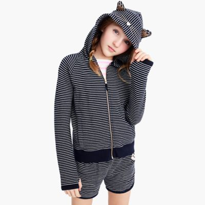 Girls' striped kitty zip hoodie