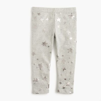 Girls' cropped everyday leggings in foil star print