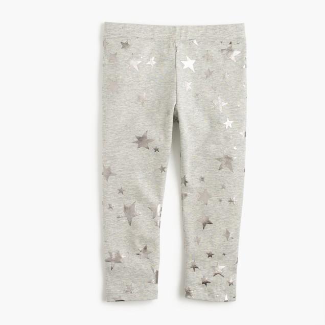 Girls' cropped everyday leggings in foil star print
