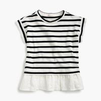 Girls' striped T-shirt with eyelet ruffle