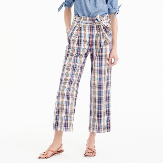 Tie-waist pant in vintage plaid