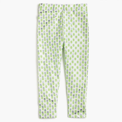 Girls' cropped everyday leggings in foil pineapple print
