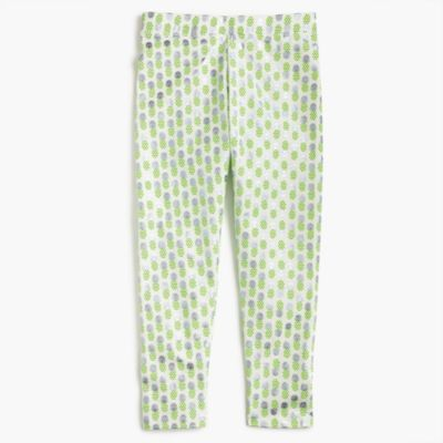 Girls' cropped everyday leggings in foil pineapple print
