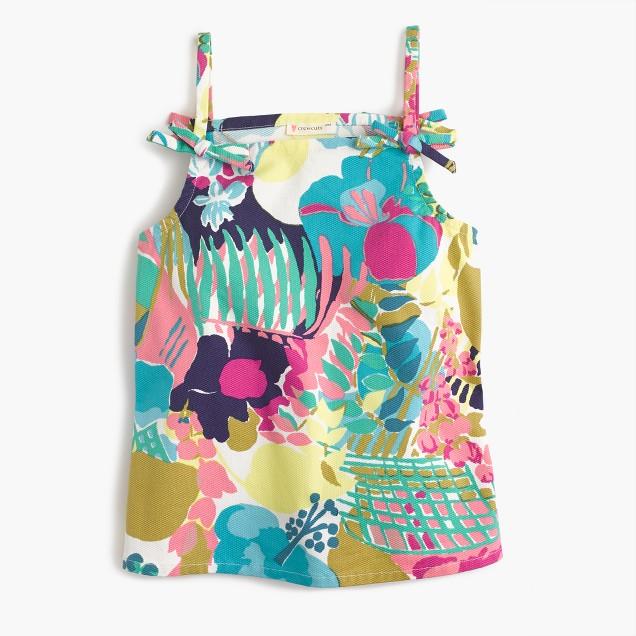 Girls' spaghetti strap top in seaside floral