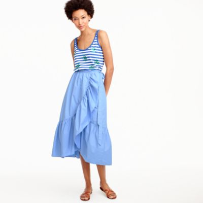 Ruffle wrap skirt in cotton poplin