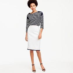 Petite linen pencil skirt with rickrack trim