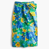 Tie-waist skirt in puckered morning floral