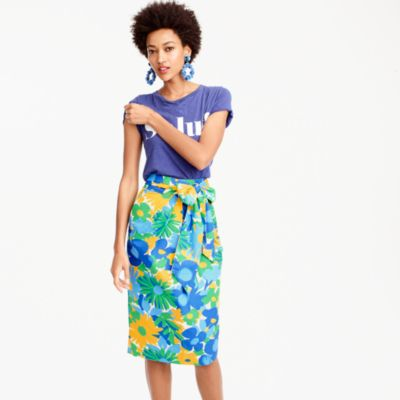 Tall tie-waist skirt in puckered morning floral