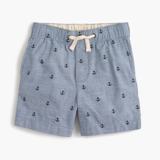 Boys' critter chambray dock shorts in anchors