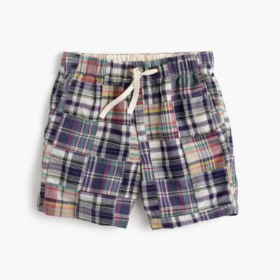 Boys' dock short in patchwork madras