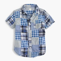 Kids' short-sleeve shirt in patchwork plaid