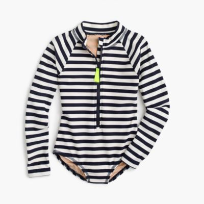 Girls' long-sleeve one-piece swimsuit in stripe
