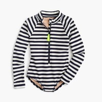Girls' one-piece rashguard in stripe