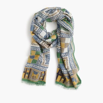 Drake's® cotton-silk scarf in geometric print