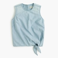 Chambray tie-waist top