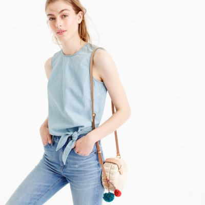 Tall chambray tie-waist top