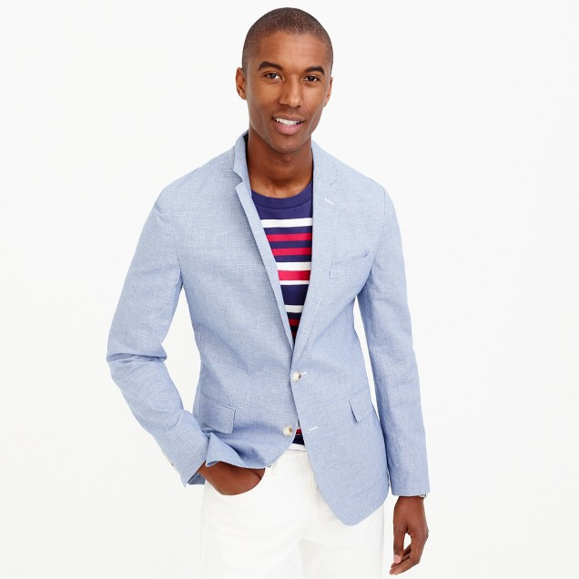 Unstructured Ludlow cotton-linen blazer in blue houndstooth