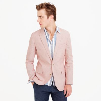 Unstructured Ludlow cotton-linen blazer in pink stripe