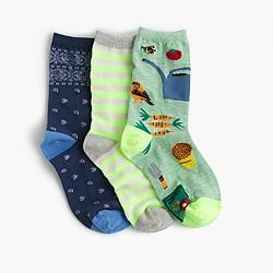 Girls' neon ankle socks three-pack
