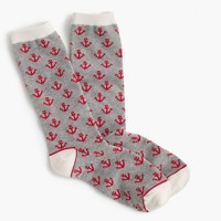 Trouser socks in anchor print