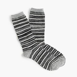 Striped marled wool trouser socks
