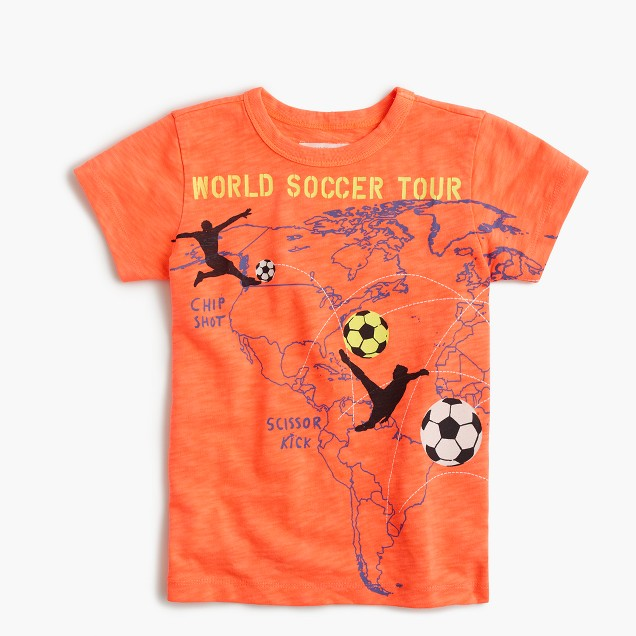 "Boys' glow-in-the-dark ""world soccer tour"" T-shirt"