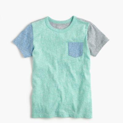 Boys' short-sleeve colorblocked pocket T-shirt