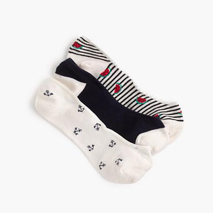 jcrew female mixed noshow socks threepack