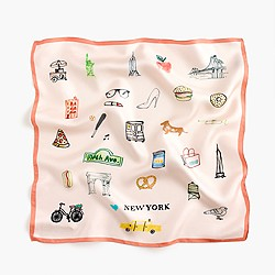 "Italian silk square scarf in ""New York"" print"