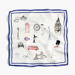 Italian silk square scarf in London print