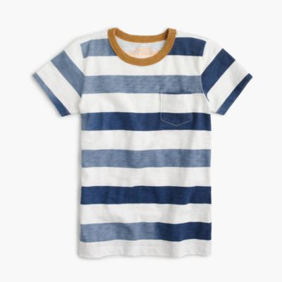 Boys' faded striped pocket slub T-shirt