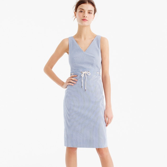 Petite double V-neck dress in stretch seersucker