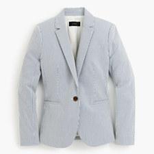 Petite Campbell blazer in stretch seersucker - BLUE WHITE