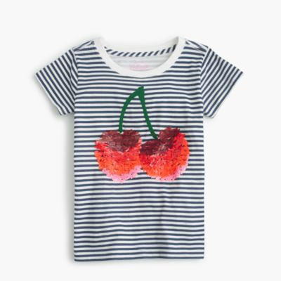 Girls' sequin cherry T-shirt