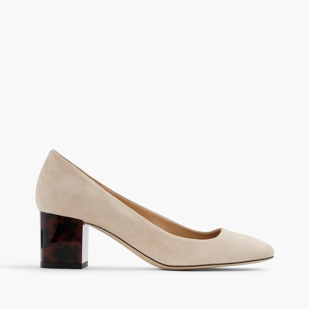 Tortoise heels in suede