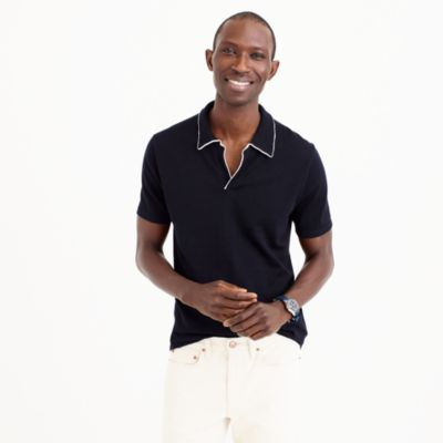 Pima cotton open-collar sweater-polo