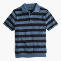 Pima cotton short-sleeve sweater-polo in wide stripe