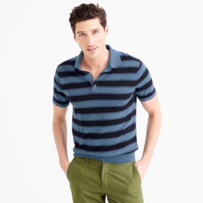 Pima cotton short-sleeve sweater-polo in wide stripe