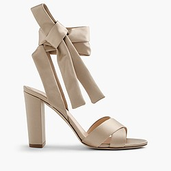 Satin sandals with ankle wraps