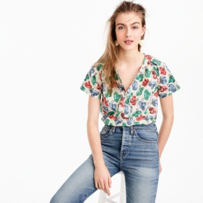 Short-sleeve top in hat print