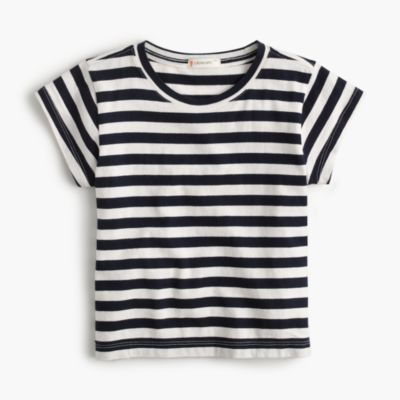 Girls' cap-sleeve striped T-shirt
