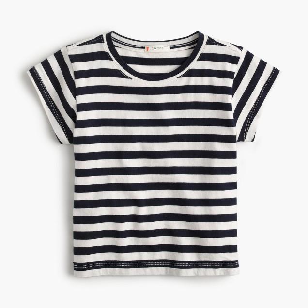 Girls' cap-sleeve striped T-shirt