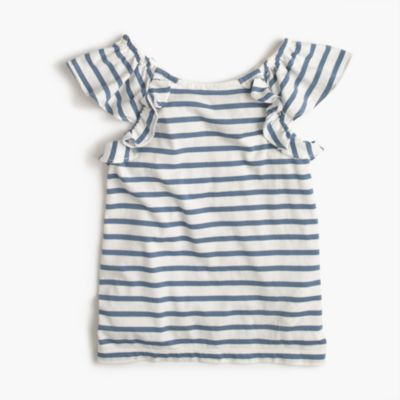 Girls' ruffle tank top in stripes
