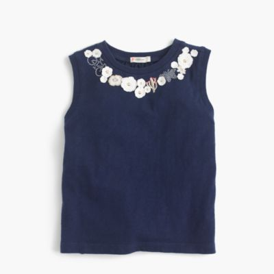 Girls' embroidered necklace tank top