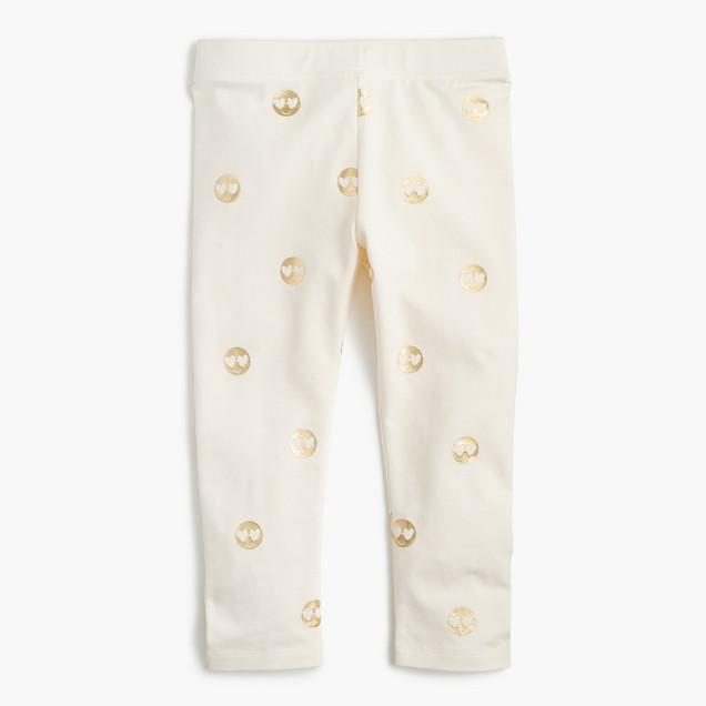 Girls' everyday cropped leggings in emojis