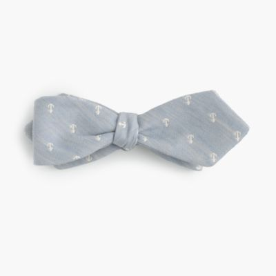 Cotton-linen bow tie in anchor print