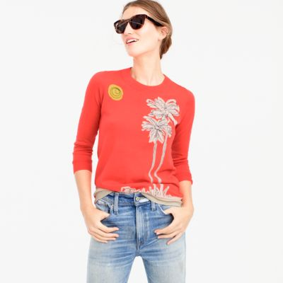 Tippi sweater in embroidered palm trees