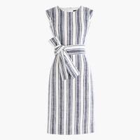 Petite belted dress in linen