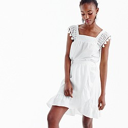 Petite linen ruffle skirt